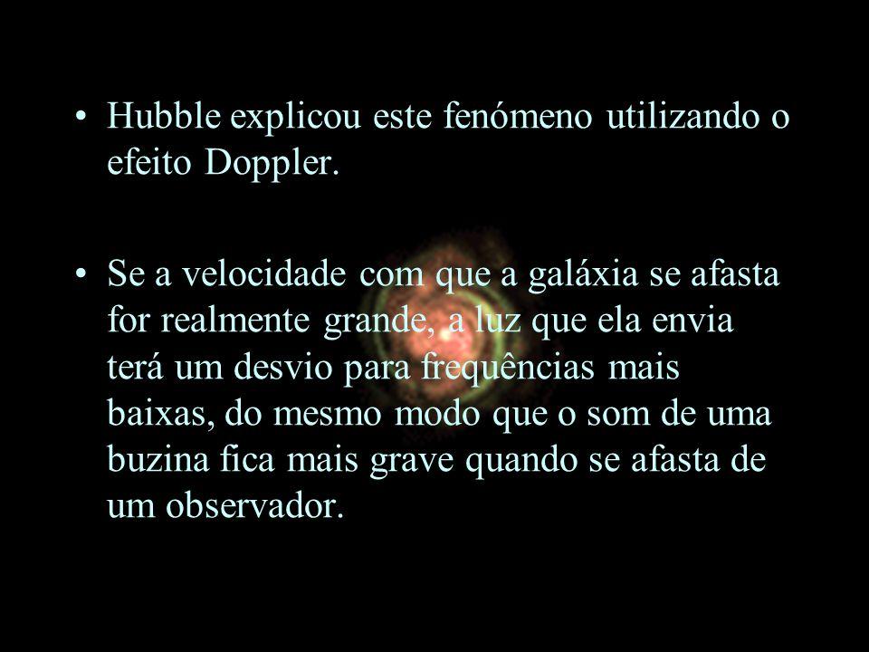 Hubble explicou este fenómeno utilizando o efeito Doppler. Se a velocidade com que a galáxia se afasta for realmente grande, a luz que ela envia terá