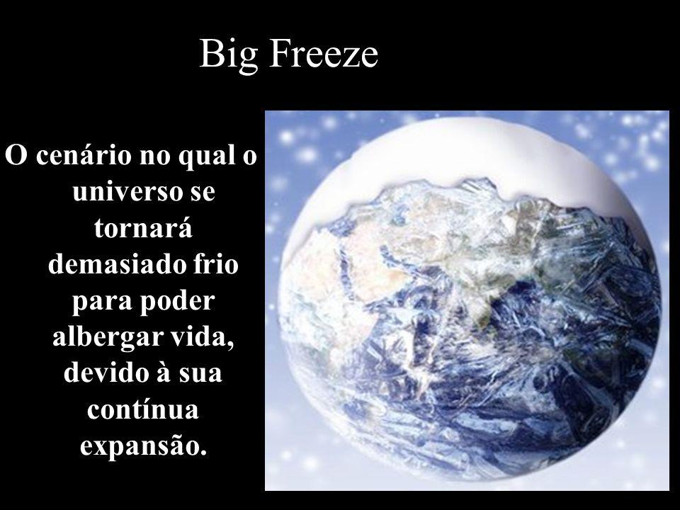 Big Freeze O cenário no qual o universo se tornará demasiado frio para poder albergar vida, devido à sua contínua expansão.