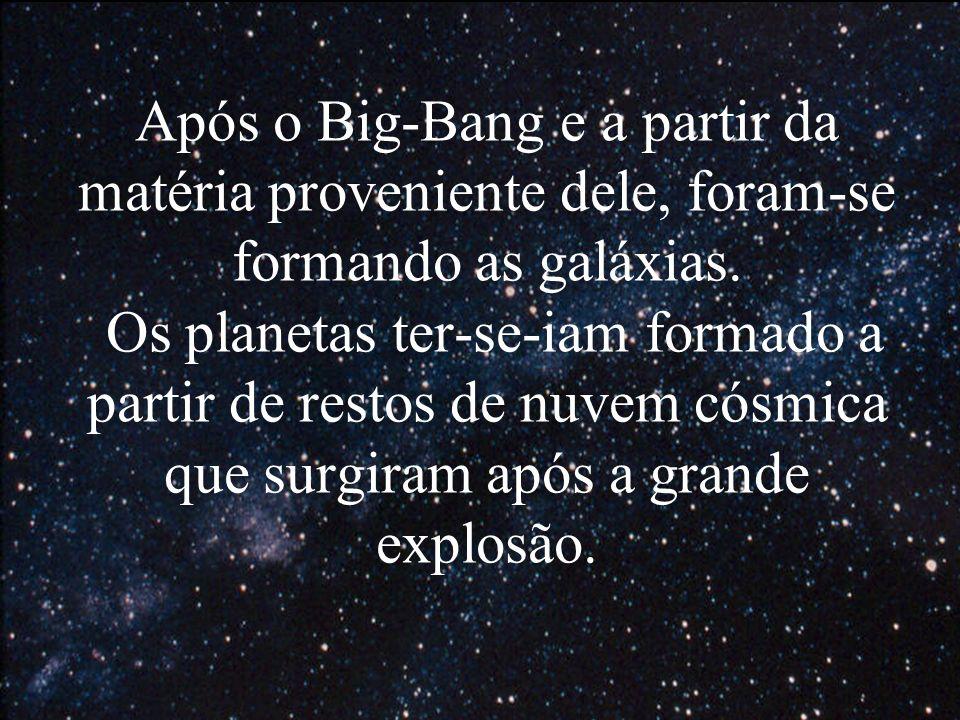 Após o Big-Bang e a partir da matéria proveniente dele, foram-se formando as galáxias. Os planetas ter-se-iam formado a partir de restos de nuvem cósm