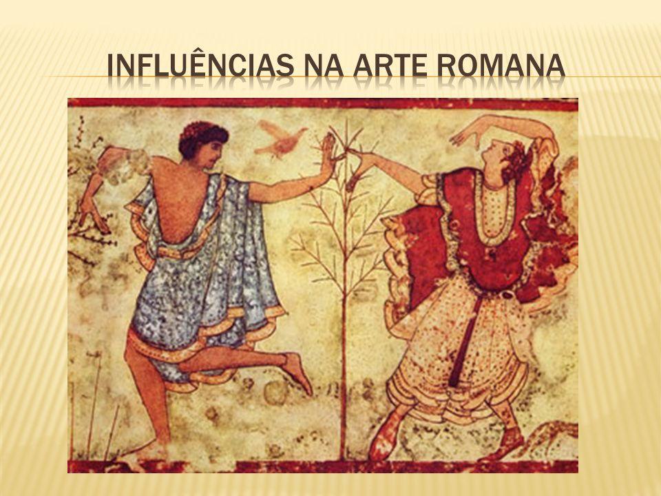 A arte romana sofreu duas fortes influências: a da arte etrusca popular e voltada para a expressão da realidade vivida, e a da greco- helenística, orientada para a expressão de um ideal de beleza.
