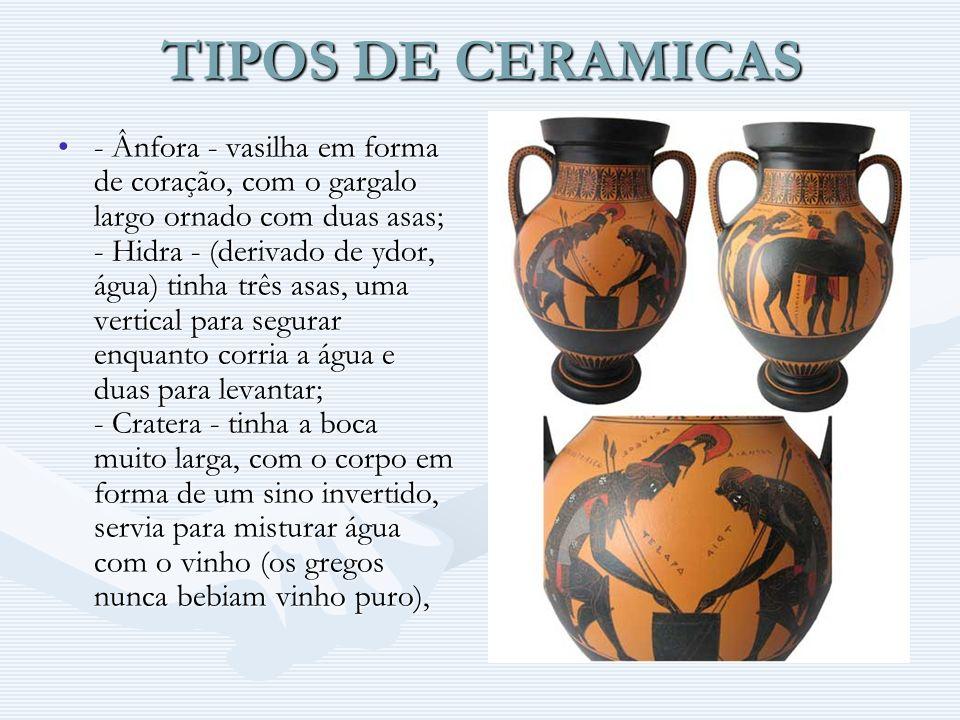 TIPOS DE CERAMICAS - Ânfora - vasilha em forma de coração, com o gargalo largo ornado com duas asas; - Hidra - (derivado de ydor, água) tinha três asa