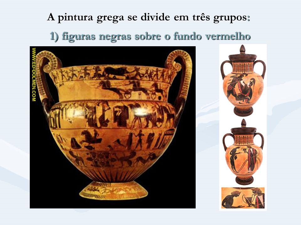 A pintura grega se divide em três grupos: 1) figuras negras sobre o fundo vermelho A pintura grega se divide em três grupos: 1) figuras negras sobre o