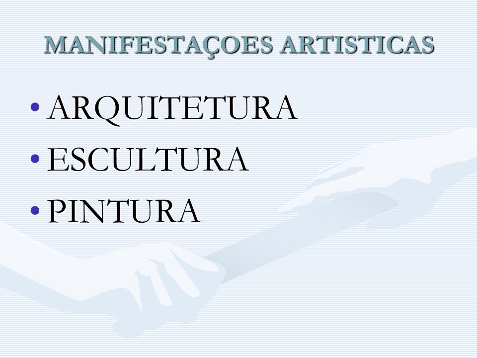 MANIFESTAÇOES ARTISTICAS ARQUITETURAARQUITETURA ESCULTURAESCULTURA PINTURAPINTURA
