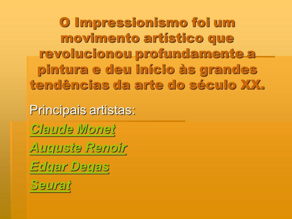 O Impressionismo foi um movimento artístico que revolucionou profundamente a pintura e deu início às grandes tendências da arte do século XX. O Impres