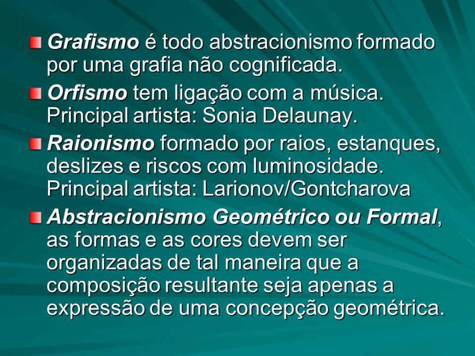 Grafismo é todo abstracionismo formado por uma grafia não cognificada. Orfismo tem ligação com a música. Principal artista: Sonia Delaunay. Raionismo