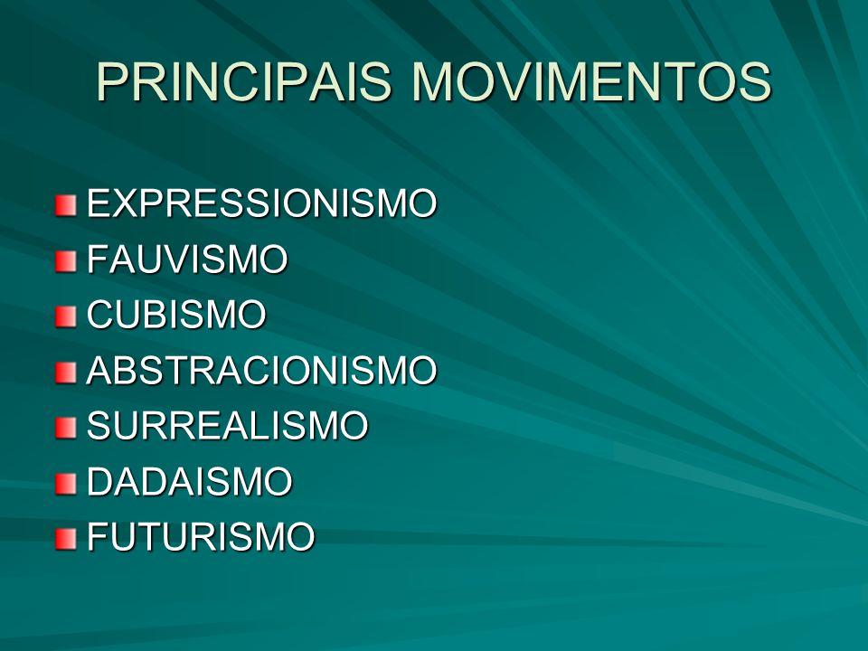 PRINCIPAIS MOVIMENTOS EXPRESSIONISMOFAUVISMOCUBISMOABSTRACIONISMOSURREALISMODADAISMOFUTURISMO