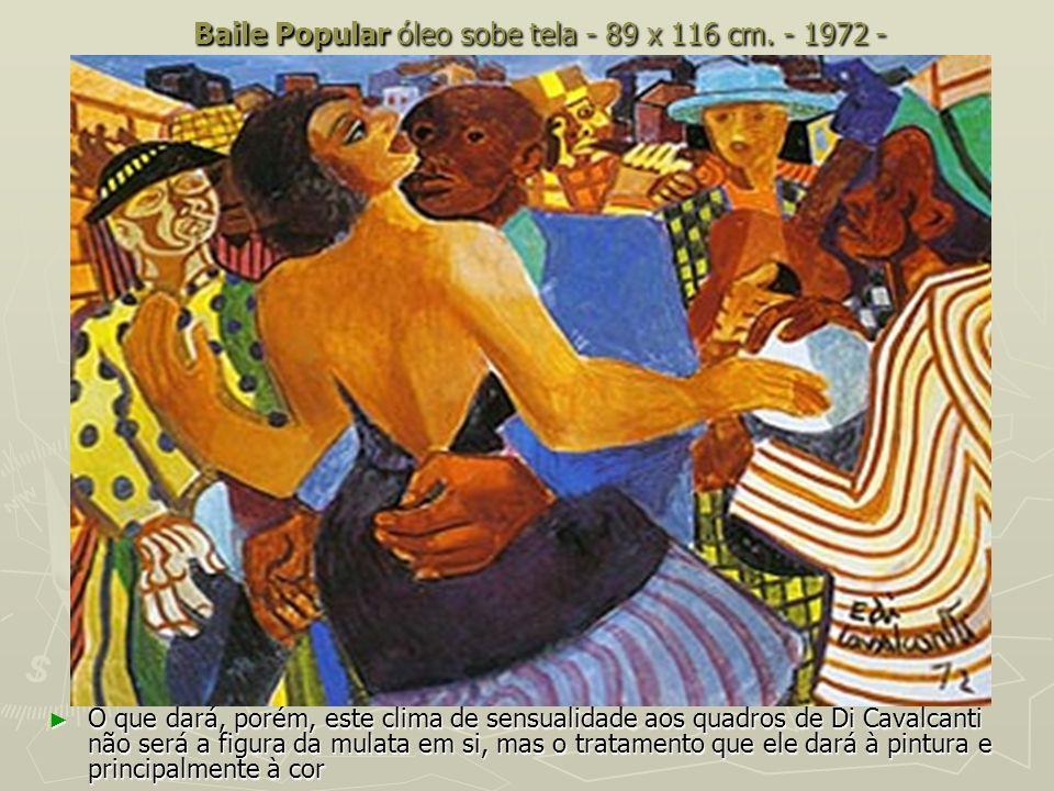 Baile Popular óleo sobe tela - 89 x 116 cm. - 1972 - O que dará, porém, este clima de sensualidade aos quadros de Di Cavalcanti não será a figura da m