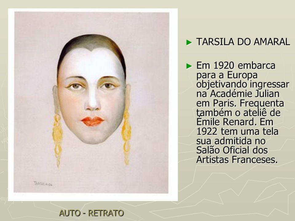 AUTO - RETRATO TARSILA DO AMARAL TARSILA DO AMARAL Em 1920 embarca para a Europa objetivando ingressar na Académie Julian em Paris. Frequenta também o