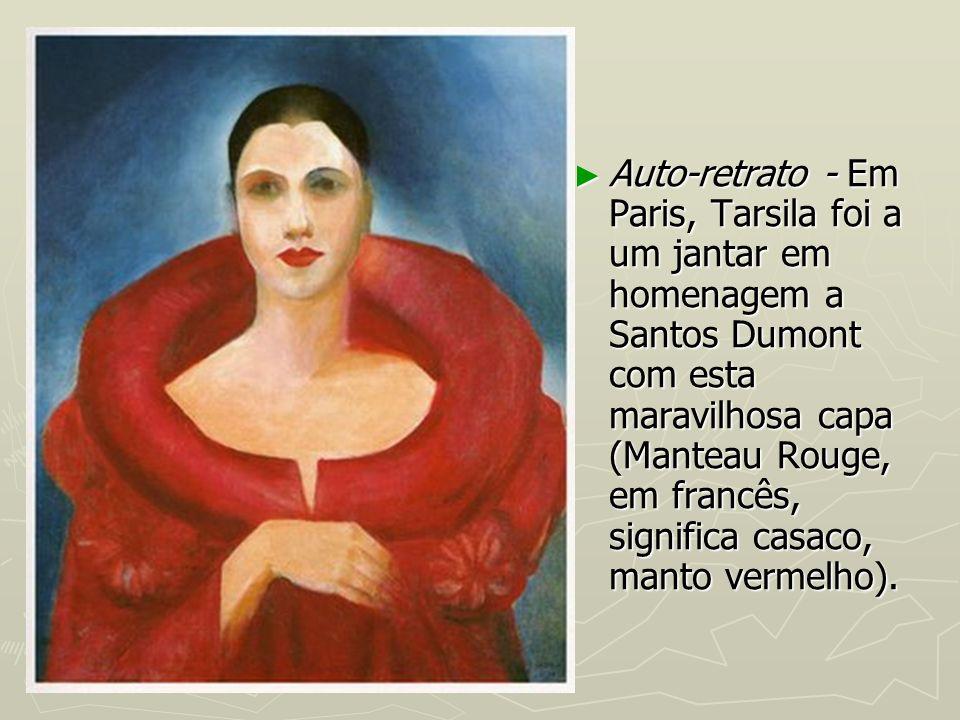 Auto-retrato - Em Paris, Tarsila foi a um jantar em homenagem a Santos Dumont com esta maravilhosa capa (Manteau Rouge, em francês, significa casaco,