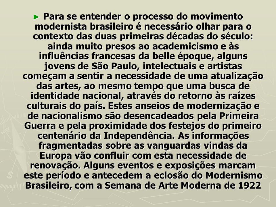 Para se entender o processo do movimento modernista brasileiro é necessário olhar para o contexto das duas primeiras décadas do século: ainda muito pr