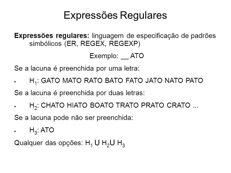 Expressões Regulares Expressões regulares: linguagem de especificação de padrões simbólicos (ER, REGEX, REGEXP) Exemplo: ATO Se a lacuna é preenchida