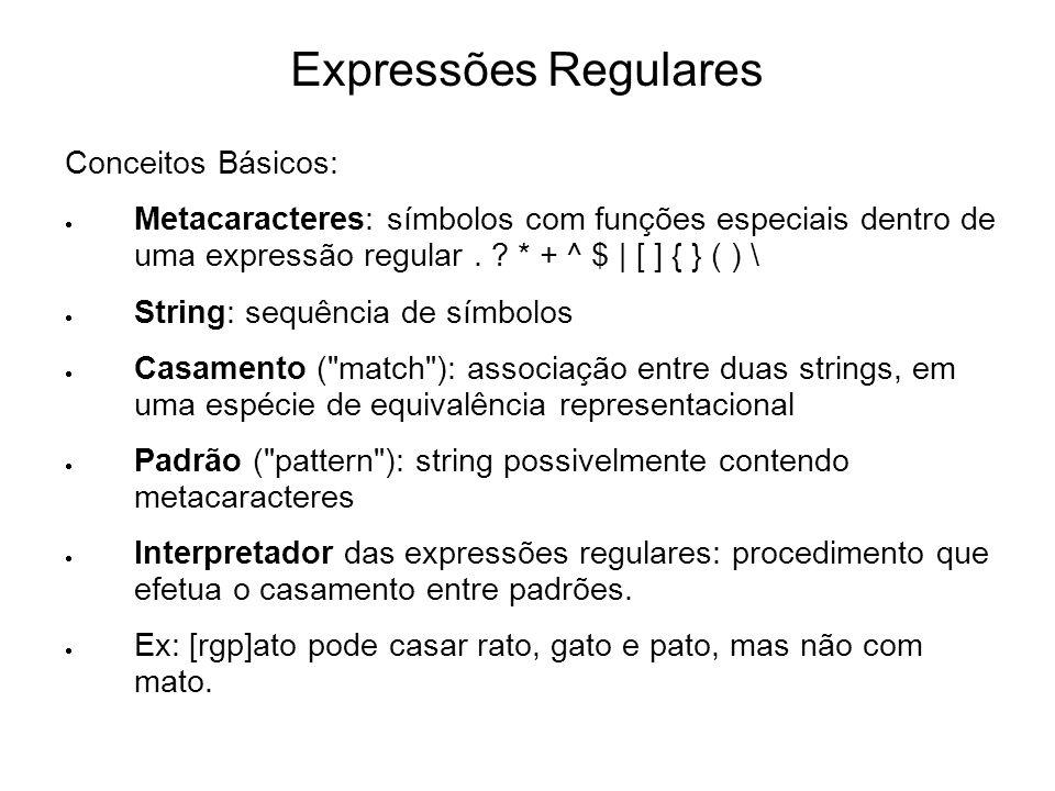 Expressões Regulares Conceitos Básicos: Metacaracteres: símbolos com funções especiais dentro de uma expressão regular. ? * + ^ $ | [ ] { } ( ) \ Stri