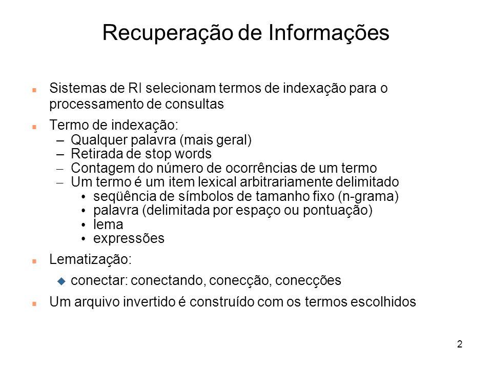 2 Sistemas de RI selecionam termos de indexação para o processamento de consultas Termo de indexação: –Qualquer palavra (mais geral) –Retirada de stop