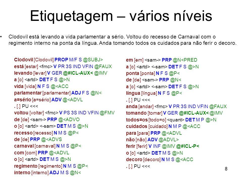 8 Etiquetagem – vários níveis Clodovil [Clodovil] PROP M/F S @SUBJ> está [estar] V PR 3S IND VFIN @FAUX levando [levar] V GER @#ICL-AUX< @IMV a [o] DE