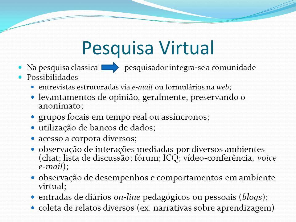 Pesquisa Virtual Na pesquisa classica pesquisador integra-se a comunidade Possibilidades entrevistas estruturadas via e-mail ou formulários na web; le