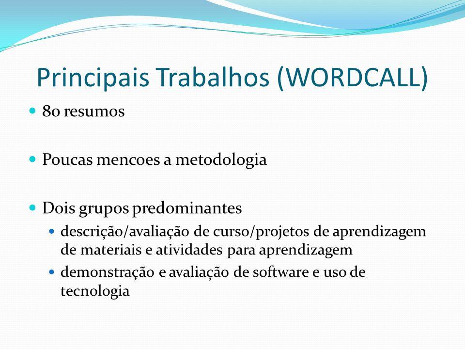 Principais Trabalhos (WORDCALL) 80 resumos Poucas mencoes a metodologia Dois grupos predominantes descrição/avaliação de curso/projetos de aprendizage