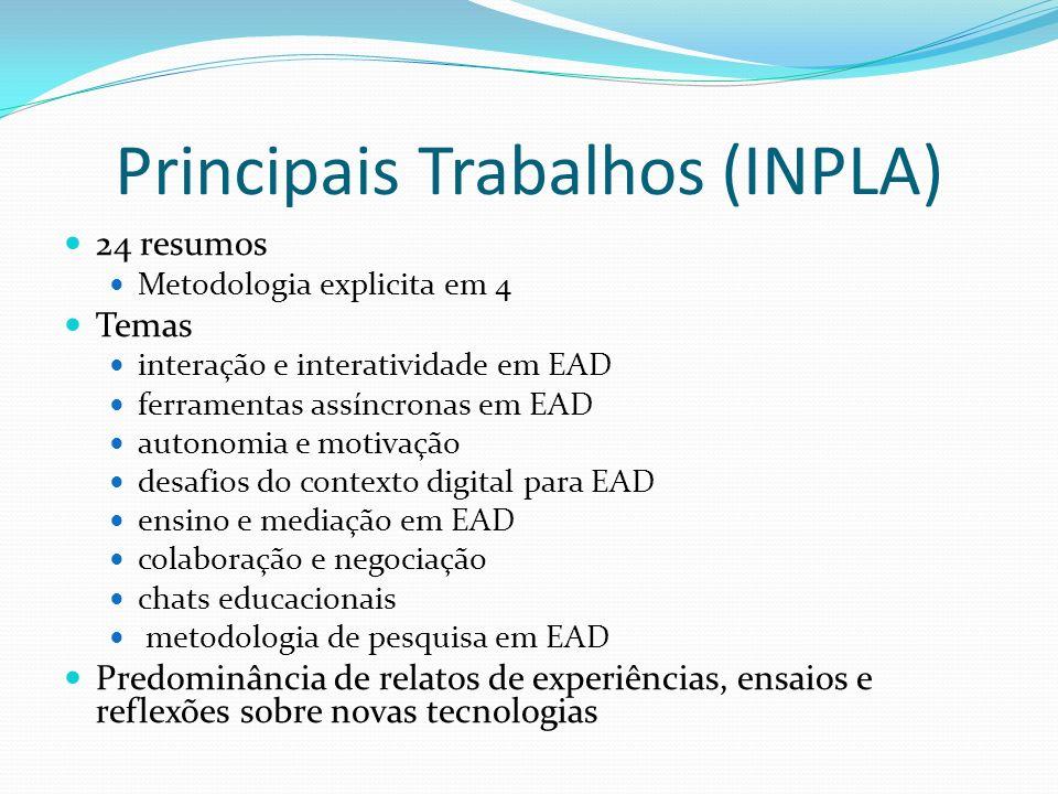 Principais Trabalhos (INPLA) 24 resumos Metodologia explicita em 4 Temas interação e interatividade em EAD ferramentas assíncronas em EAD autonomia e