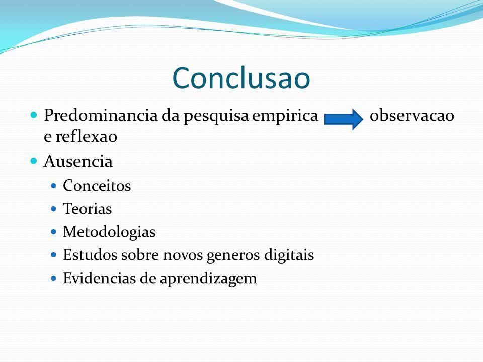 Conclusao Predominancia da pesquisa empirica observacao e reflexao Ausencia Conceitos Teorias Metodologias Estudos sobre novos generos digitais Eviden