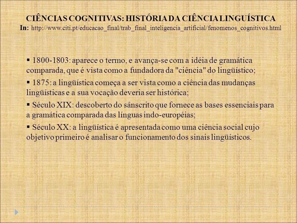 1800-1803: aparece o termo, e avança-se com a idéia de gramática comparada, que é vista como a fundadora da