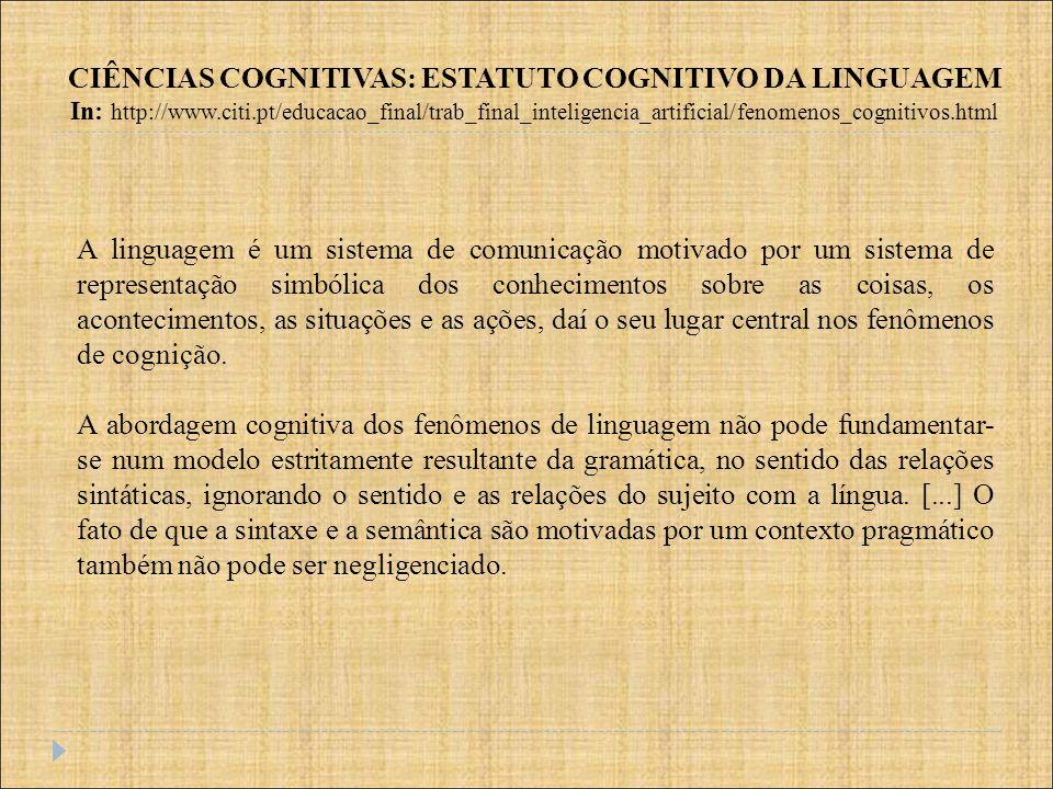 A linguagem é um sistema de comunicação motivado por um sistema de representação simbólica dos conhecimentos sobre as coisas, os acontecimentos, as si