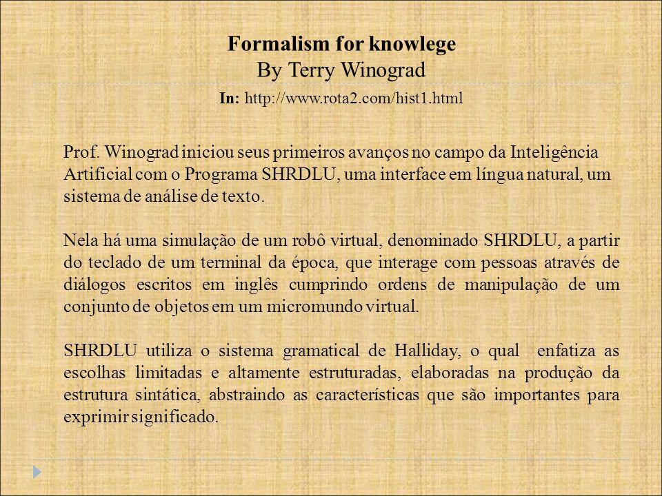 Prof. Winograd iniciou seus primeiros avanços no campo da Inteligência Artificial com o Programa SHRDLU, uma interface em língua natural, um sistema d