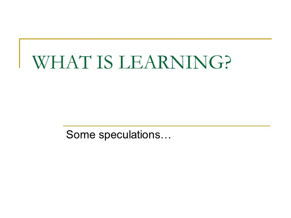 WHAT IS LEARNING? Some speculations…