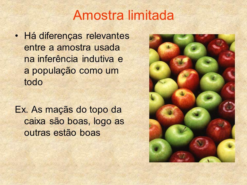Amostra limitada Há diferenças relevantes entre a amostra usada na inferência indutiva e a população como um todo Ex. As maçãs do topo da caixa são bo
