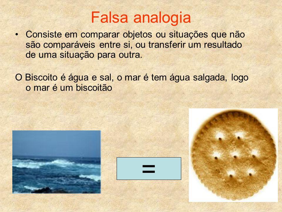 Falsa analogia Consiste em comparar objetos ou situações que não são comparáveis entre si, ou transferir um resultado de uma situação para outra. O Bi