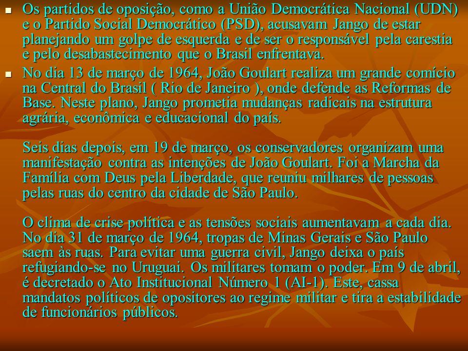 Os partidos de oposição, como a União Democrática Nacional (UDN) e o Partido Social Democrático (PSD), acusavam Jango de estar planejando um golpe de
