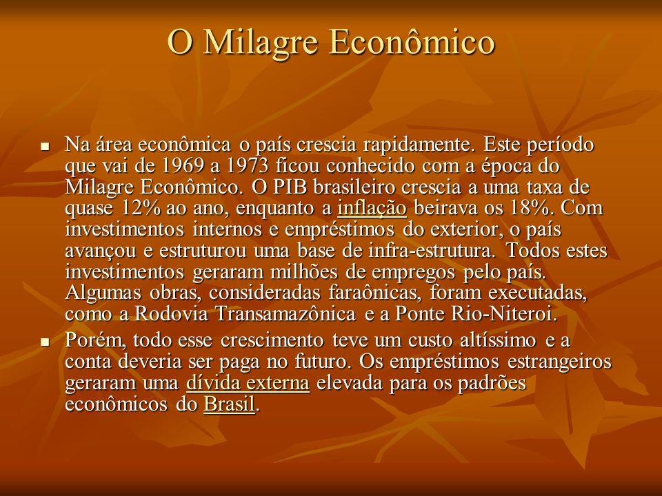 O Milagre Econômico Na área econômica o país crescia rapidamente. Este período que vai de 1969 a 1973 ficou conhecido com a época do Milagre Econômico