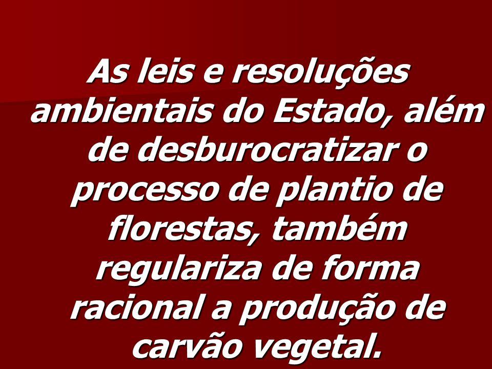 As leis e resoluções ambientais do Estado, além de desburocratizar o processo de plantio de florestas, também regulariza de forma racional a produção