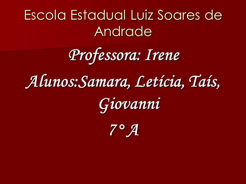 Escola Estadual Luiz Soares de Andrade Professora: Irene Alunos:Samara, Letícia, Taís, Giovanni 7° A