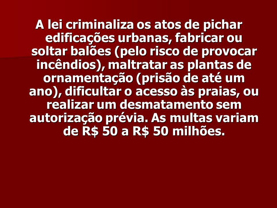 A lei criminaliza os atos de pichar edificações urbanas, fabricar ou soltar balões (pelo risco de provocar incêndios), maltratar as plantas de ornamen