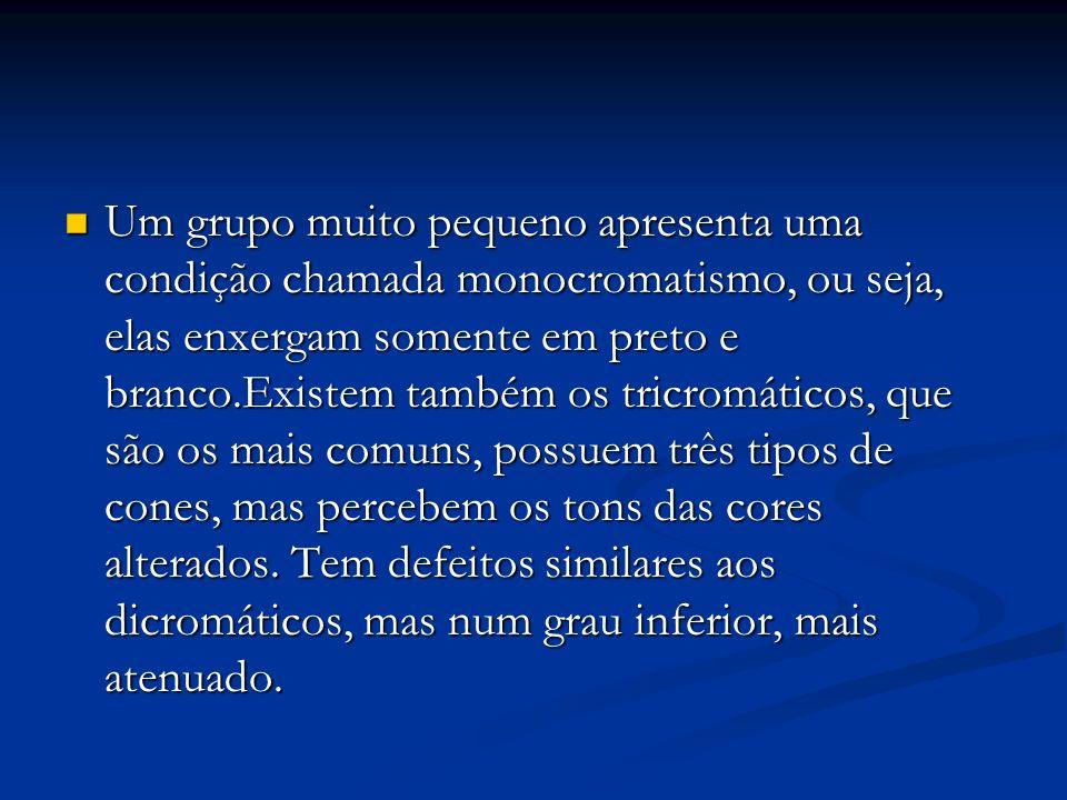 Um grupo muito pequeno apresenta uma condição chamada monocromatismo, ou seja, elas enxergam somente em preto e branco.Existem também os tricromáticos