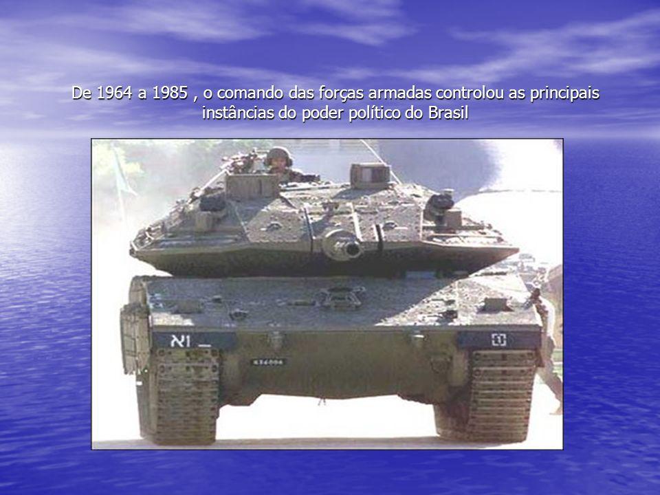 De 1964 a 1985, o comando das forças armadas controlou as principais instâncias do poder político do Brasil