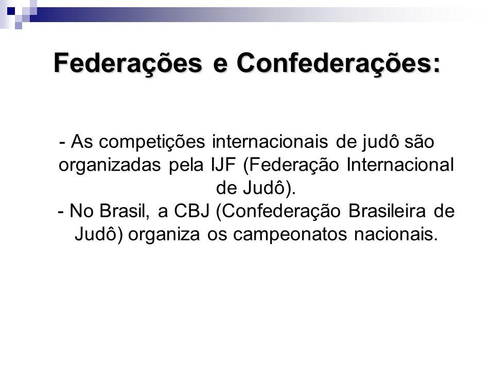 Federações e Confederações: - As competições internacionais de judô são organizadas pela IJF (Federação Internacional de Judô).