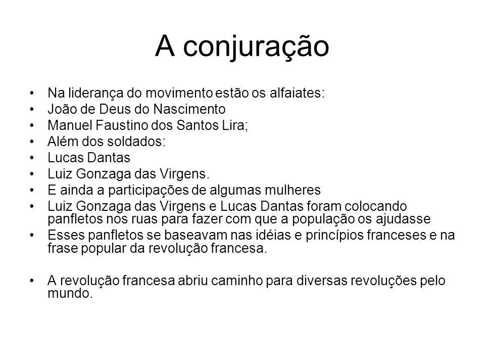 A conjuração Na liderança do movimento estão os alfaiates: João de Deus do Nascimento Manuel Faustino dos Santos Lira; Além dos soldados: Lucas Dantas