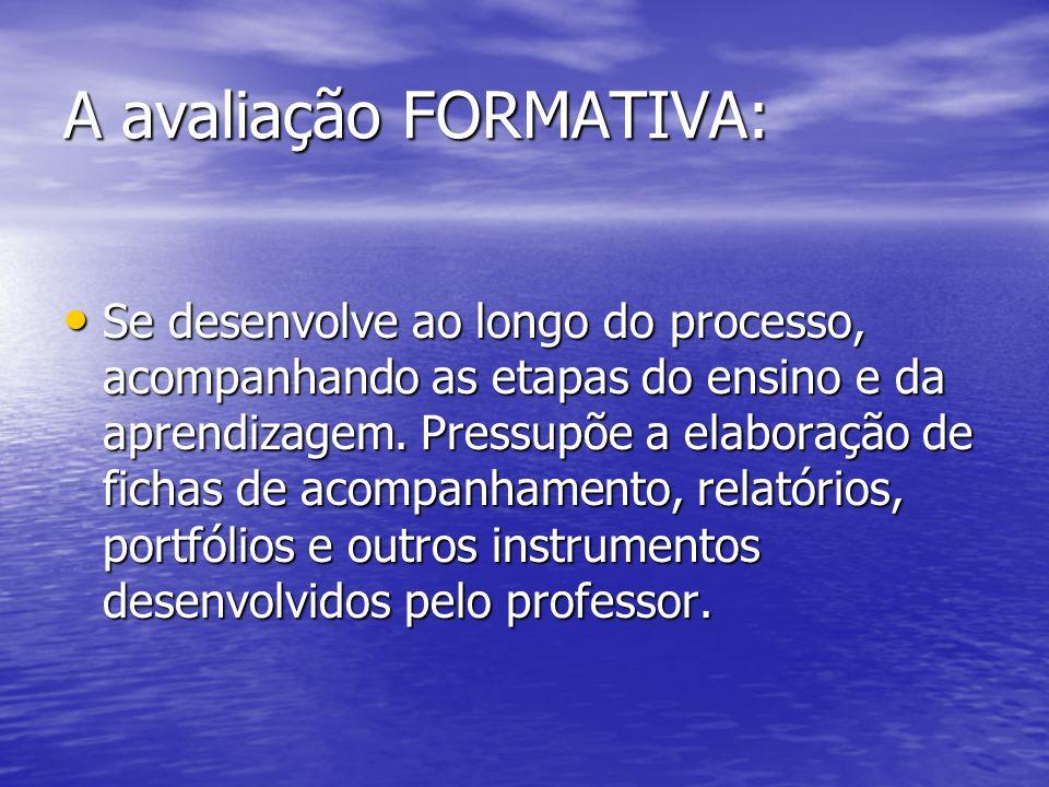 A avaliação FORMATIVA: Se desenvolve ao longo do processo, acompanhando as etapas do ensino e da aprendizagem. Pressupõe a elaboração de fichas de aco
