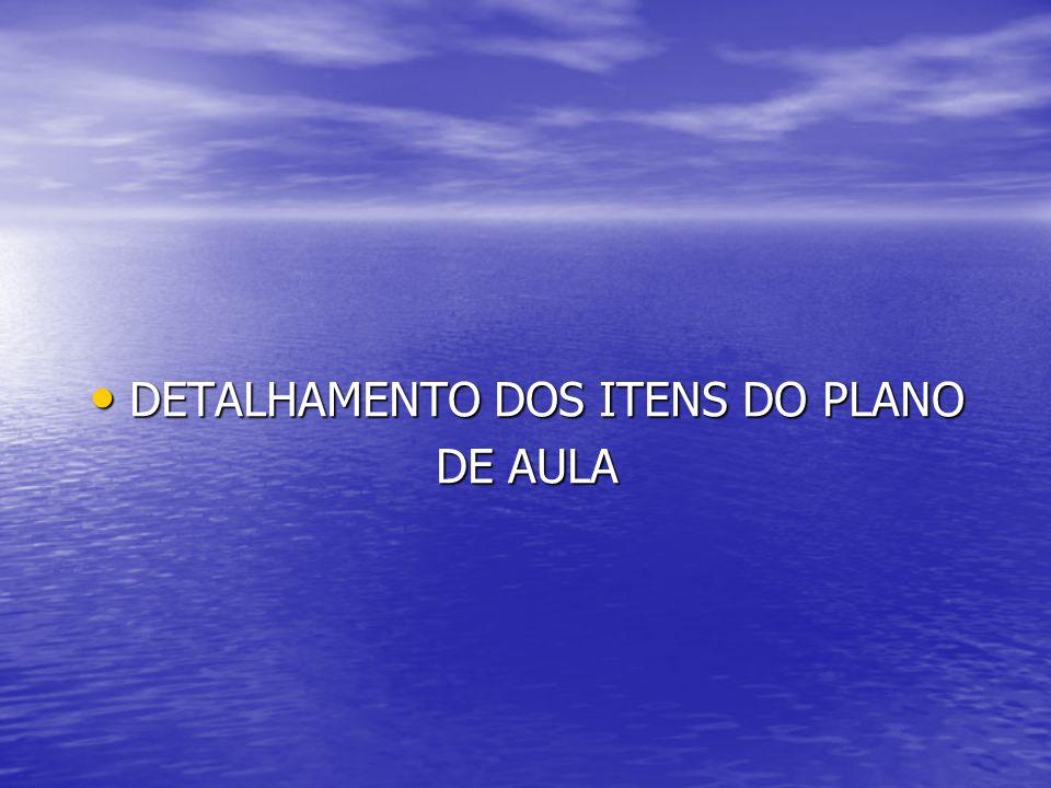 DETALHAMENTO DOS ITENS DO PLANO DETALHAMENTO DOS ITENS DO PLANO DE AULA