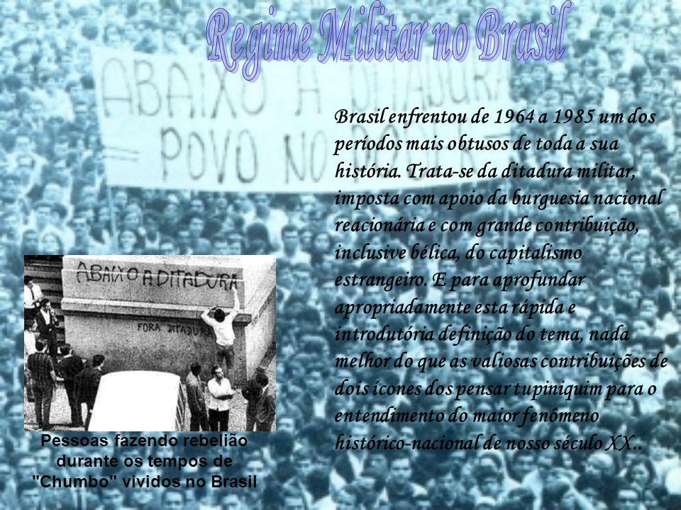 Pessoas fazendo rebelião durante os tempos de Chumbo vividos no Brasil Brasil enfrentou de 1964 a 1985 um dos períodos mais obtusos de toda a sua história.