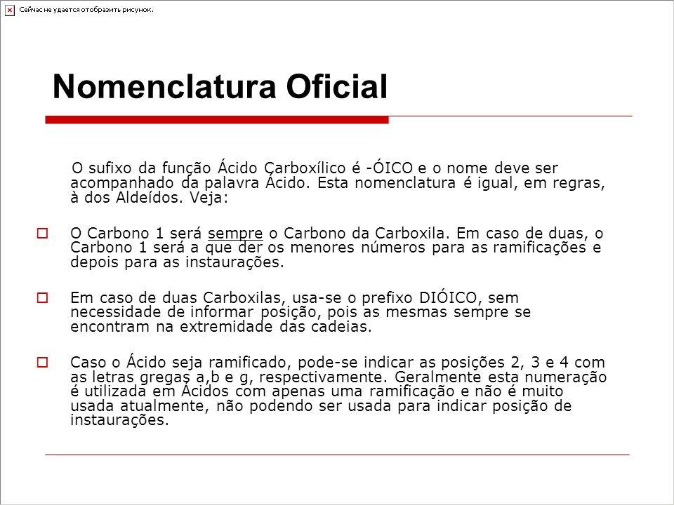 Nomenclatura Oficial O sufixo da função Ácido Carboxílico é -ÓICO e o nome deve ser acompanhado da palavra Ácido.