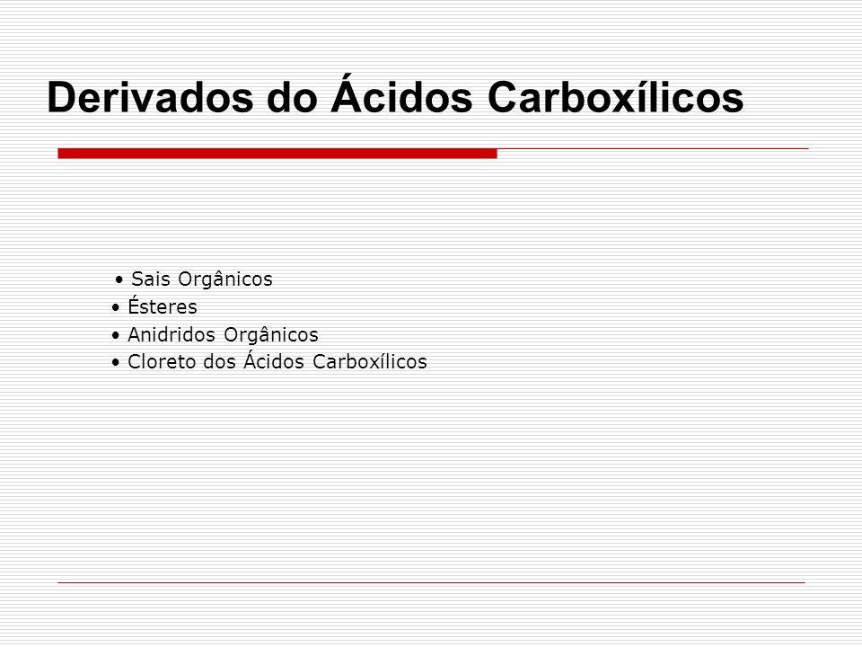 Sais Orgânicos Ésteres Anidridos Orgânicos Cloreto dos Ácidos Carboxílicos Derivados do Ácidos Carboxílicos