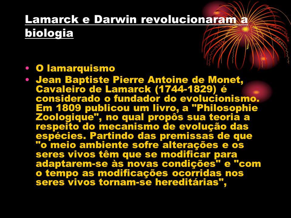 Lamarck e Darwin revolucionaram a biologia O lamarquismo Jean Baptiste Pierre Antoine de Monet, Cavaleiro de Lamarck (1744-1829) é considerado o funda