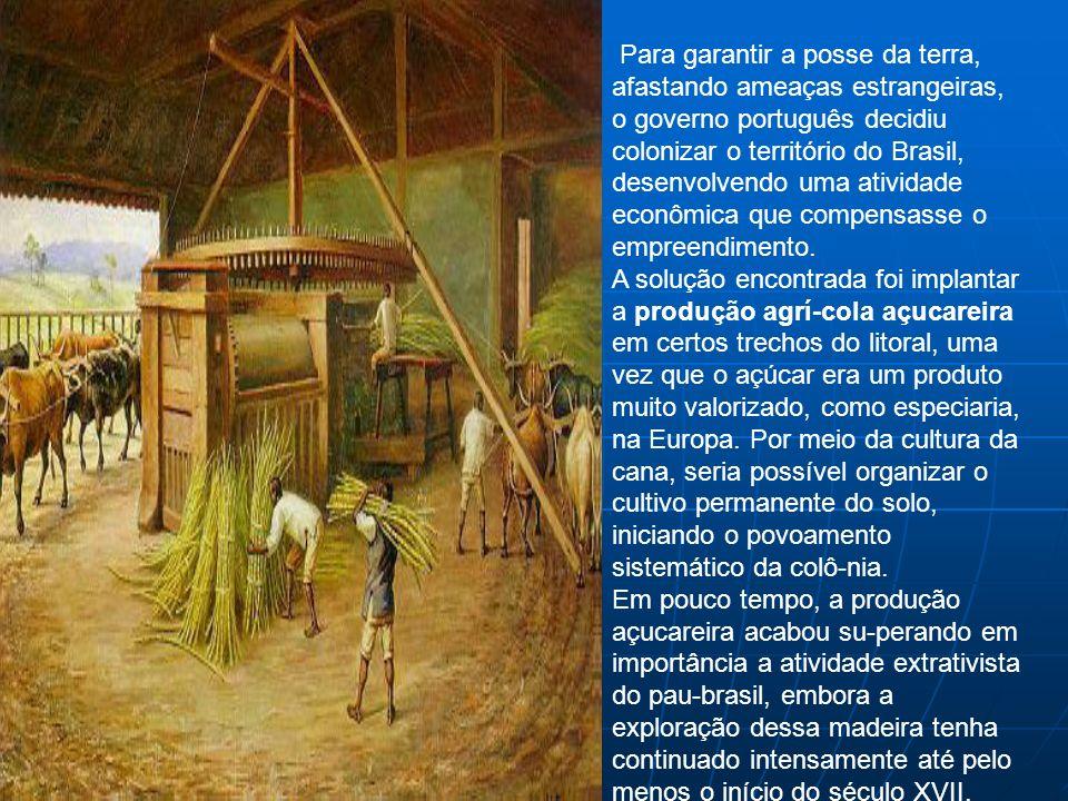 Para garantir a posse da terra, afastando ameaças estrangeiras, o governo português decidiu colonizar o território do Brasil, desenvolvendo uma ativid