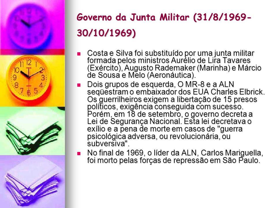 Governo Costa e Silva (1967- 1969) Em 1967, assume a presidência o general Arthur da Costa e Silva, após ser eleito indiretamente pelo Congresso Nacional.
