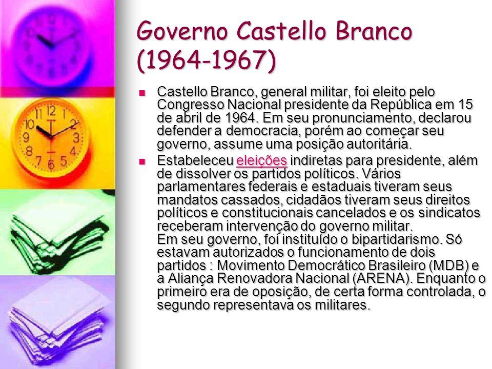 Governo da Junta Militar (31/8/1969- 30/10/1969) Costa e Silva foi substituído por uma junta militar formada pelos ministros Aurélio de Lira Tavares (Exército), Augusto Rademaker (Marinha) e Márcio de Sousa e Melo (Aeronáutica).