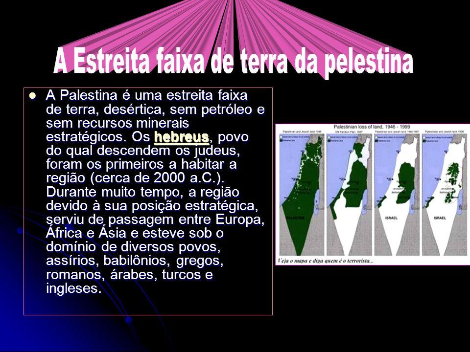 A Palestina é uma estreita faixa de terra, desértica, sem petróleo e sem recursos minerais estratégicos. Os hebreus, povo do qual descendem os judeus,