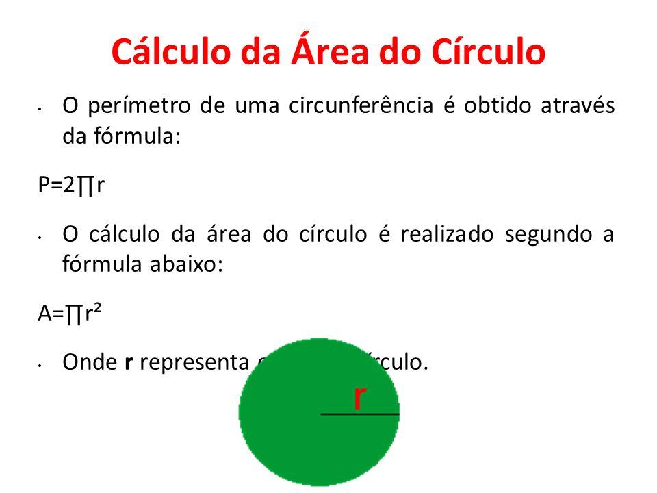 Cálculo da Área do Círculo O perímetro de uma circunferência é obtido através da fórmula: P=2r O cálculo da área do círculo é realizado segundo a fórm