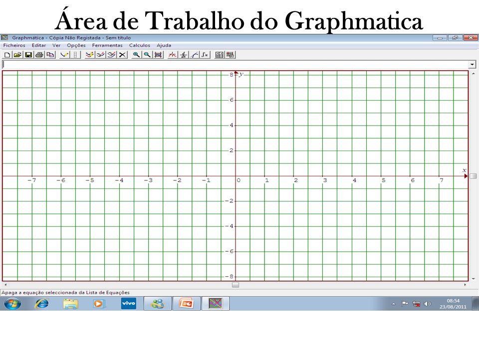 Área de Trabalho do Graphmatica A imagem que vemos acima é chamada de plano cartesiano é representada pelos eixos X e Y.