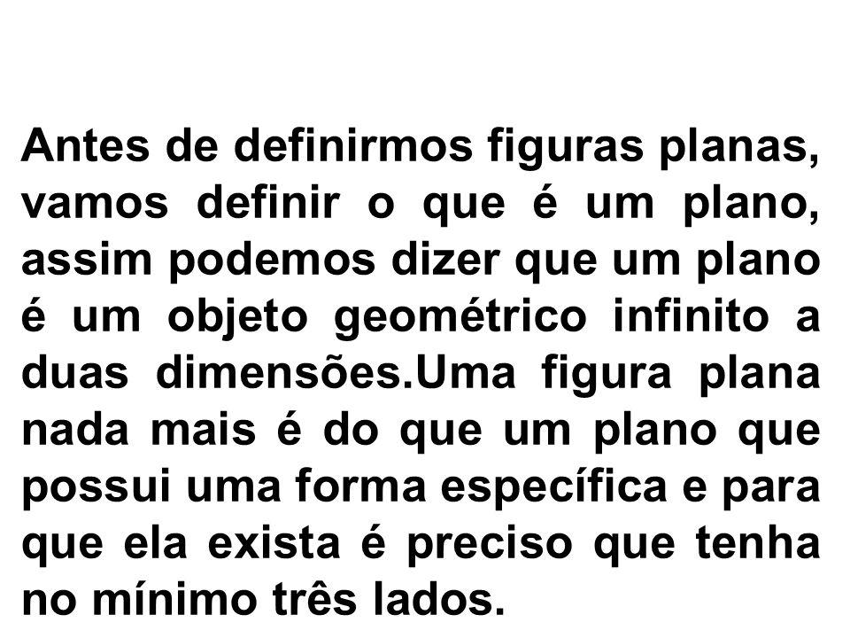 O que são figuras planas? Antes de definirmos figuras planas, vamos definir o que é um plano, assim podemos dizer que um plano é um objeto geométrico